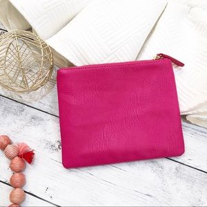 Hot Pink Faux Leather Clutch